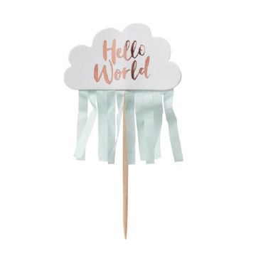 Hello World Cupcake Picks - pack of 10